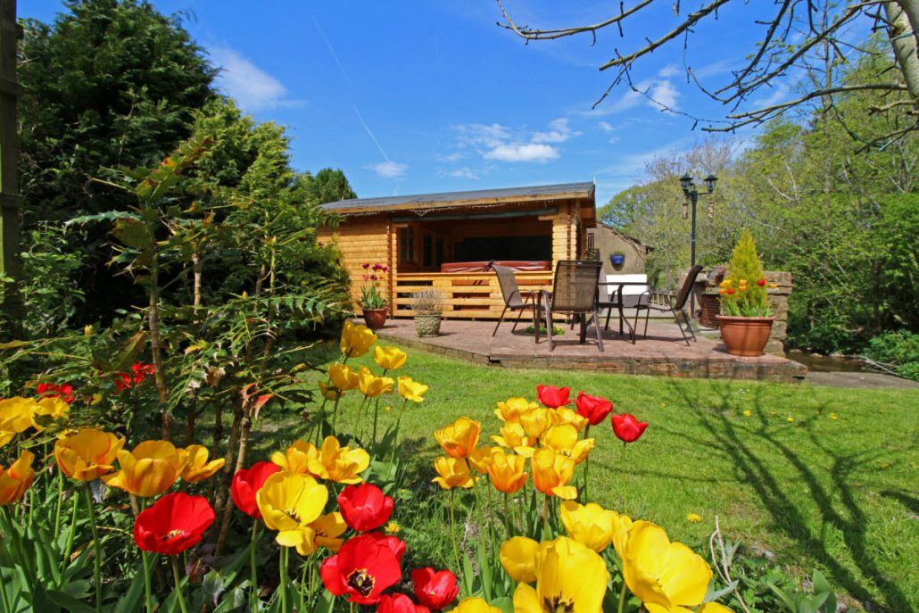 Holiday cottages, lodge and hot tub.
